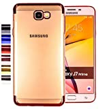 COOVY® Cover für Samsung Galaxy J7 Prime SM-G610Y /Duos SM-G610F / DS / On7 leichtes, ultradünnes TPU Silikon Bumper Case, transparent, Chrom Rahmen | Farbe Rosegold