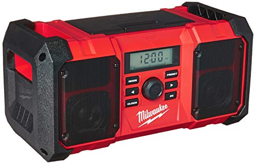 MILWAUKEE'S 2890-20 18V Dual Chemistry M18 Jobsite Radio with Shock Absorbing End Caps, USB 2.1A Smartphone Charging, and 3.5mm Aux Jack