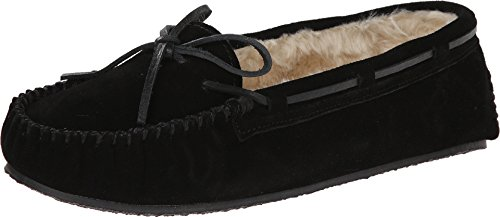Minnetonka Womens Cally Slipper, Black, Size 6 Wide