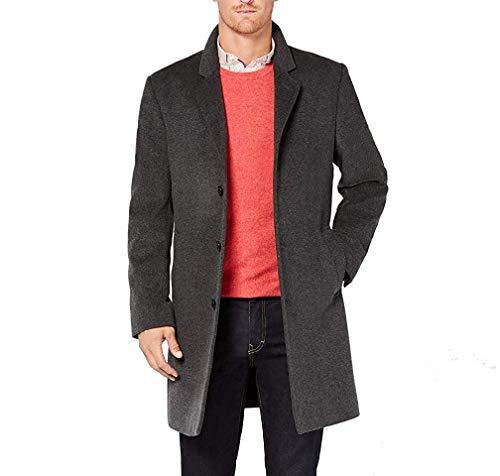 Michael Kors Men's Madison Top Coat, Solid Dark Grey Heather, 36S