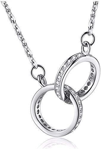 Stijlvolle Simplicitysterling zilveren ketting sleutelbeen ketting Fashion Joker zilveren hanger ring diamant Valentijnsdag, MN