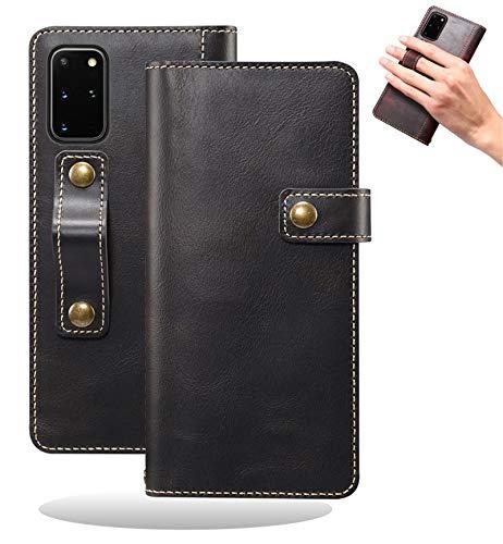 Yidai-Silu Galaxy Note 20 Ultra Echt Leder Tasche, 【DK Knopf, Multi-Funktion Magnet, Fingerhalter】 Handy Hülle Wallet Hülle Geldbeutel Brieftasche für Samsung Galaxy Note 20 Ultra 6,9 Zoll - SchwarzundB