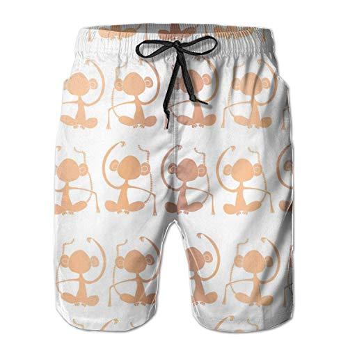 Bañador para Hombre Siluetas de Mono con lámina de Oro Rosa Pantalones Cortos de Playa para Surf Ropa de baño