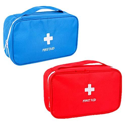2 Piezas Mini Botiquines Portátiles De Primeros Auxilios Portátil Médico Bolsa Botiquín Botiquín De Primeros Auxilios Premium Para El Hogar, Deporte, Camping(solo Bolsas De Medicamentos Vacías)