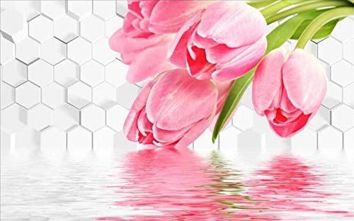 3D Fototapete Tulpe Reflexion 280 x 200 cm Tapete 3D Wandbild Bild Tapeten Wandtapete Dekoration Wandbelag Wanddeko