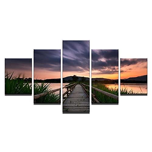 GHYTR Cuadro En Lienzo Decoracion 5 Piezas HD Imagen Impresiones En Lienzo Póster Pintura Paisaje del Río Al Atardecer 5 Piezas Cuadro Moderno XXL 150X80Cm Murales Pared Oficina Decor