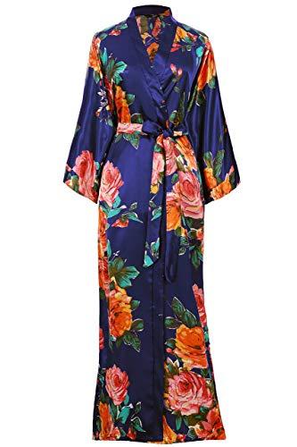 Coucoland dames ochtendjas zomer bloemenpatroon maxi lang kimono jurk badjas dames lange robe bloemen slaapjas meisje pajama party 135 cm lang