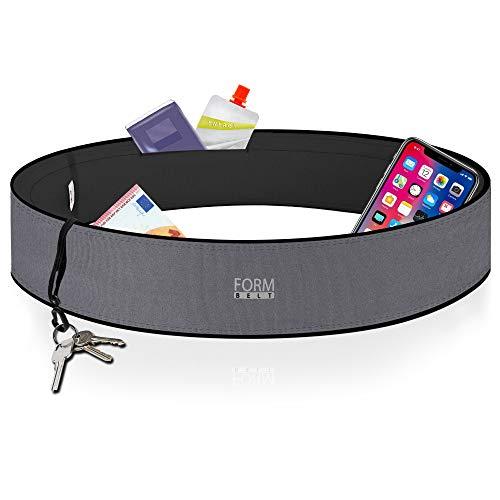 Formbelt® Laufgürtel für Handy Smartphone iPhone 8 X XS XR 11 6-s 7+ Plus Samsung Galaxy S7 S8 S9 S10 Edge Hüfttasche für Sport Fitness Laufen Bauchtasche zum Laufen (grau, M)