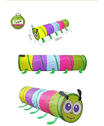 Pop Up Kids Caterpillar Play Tent - Multicolour, Crawl Tunnel Tube for Indoor/Outdoor Use| Portable Kids Toy. Baby & Toddler Toys
