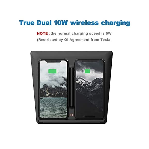 Dual 10W Wireless Charger for Tesla