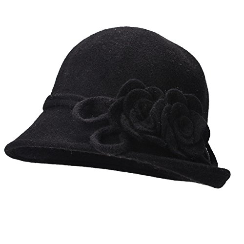 Lawliet Womens Retro Collapsible Soft Knit Wool Cloche Hat Bucket Flower A466 (Black)