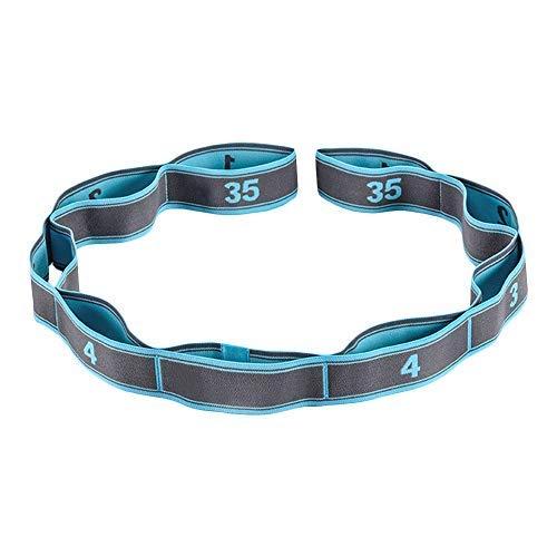 Wankd Cinturón de gimnasia con 9 trabillas, 105 x 3,6 cm, elástico para mayor movilidad, para fitness, pilates, fisioterapia, color azul
