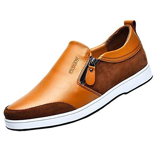 CERYTHRINA Zapatos de elevador, invisibles, de 2,36 pulgadas, de piel de ante sin cordones, estilo casual, con cremallera