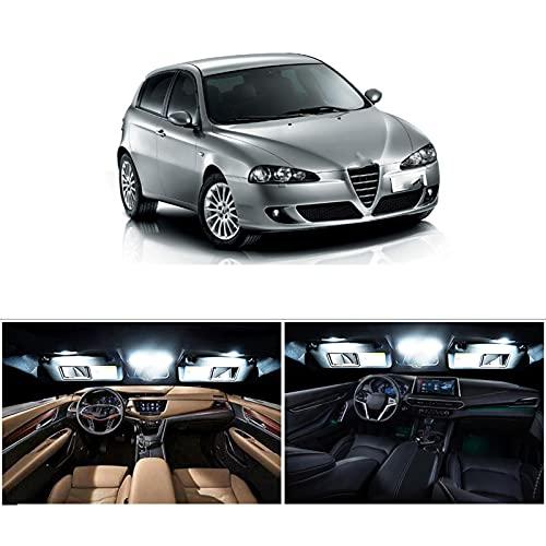 9 Piezas de Bombillas LED Blancas sin Errores, Kit de luz de Domo de Mapa Interior para lámpara de guantera de Maletero, para 2000-2007 2008 2009 2010 Alfa Romeo 147