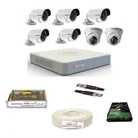 HIKVISION Full HD 2MP Cameras Combo KIT 8CH HD DVR+ 5 Bullet Cameras + 2 Dome Cameras+1TB Hard DISC+ Wire ROLL +Supply & All Required CONNECTORS
