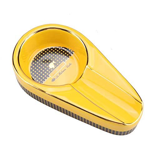 Acouto Cenicero de Cerámica, Mini Cenicero de Cerámica Portátil para Cigarrillos Soporte de Ceniza para Dormitorio Sala de Estar Terraza(Amarillo)