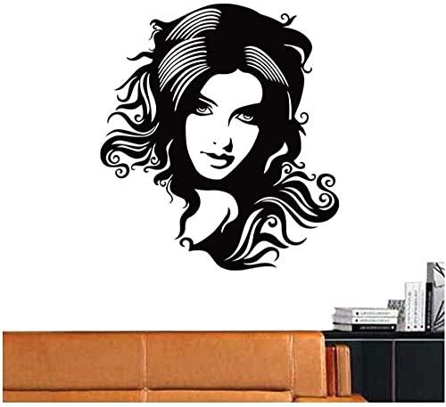 Peluquería Peluquería Logotipo Etiqueta de la pared Vinilo desmontable Etiqueta de la pared Sala de estar Dormitorio DIY Decoración del hogar Arte interior Etiqueta mural 58X64cm