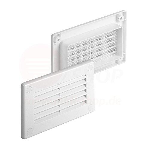 MKK Kanal Abschlussgitter 55 x 110 mm Lüftungsgitter Kunststoff Flachkanal Wand Insektennetz Lüftung