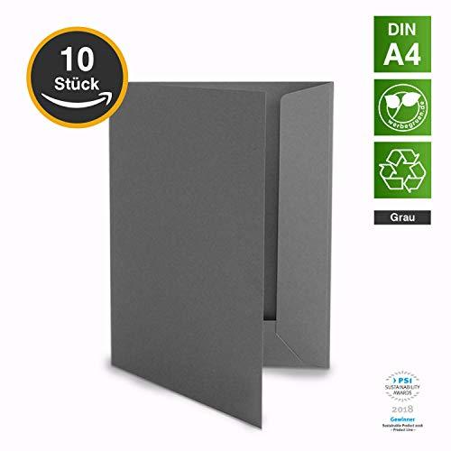 10 Hochwertige Präsentationsmappen - DIN-A4 GRAU Stabiler durchgefärbter 320g/m² Karton - eigene Herstellung in Deutschland (Dokumentenmappen Angebotsmappen Pappmappen Arbeitsmappen Pappe)