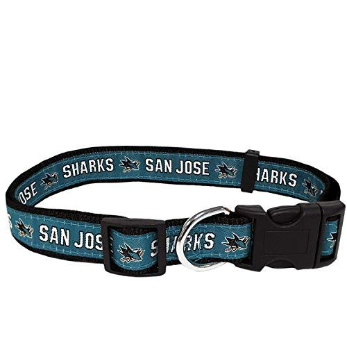 Pets First NHL San Jose Shark Halsband für Hunde und Katzen, Größe M, verstellbar, niedlich und stylisch Das ultimative Hockey-Fan-Halsband