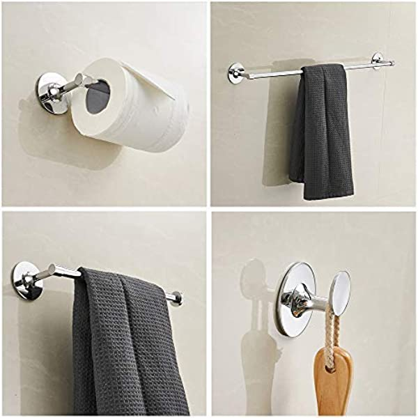 3M Self Adhesive 4 Piece Bathroom Accessories Stainless Steel Towel Bar Paper Holder Set Chrome