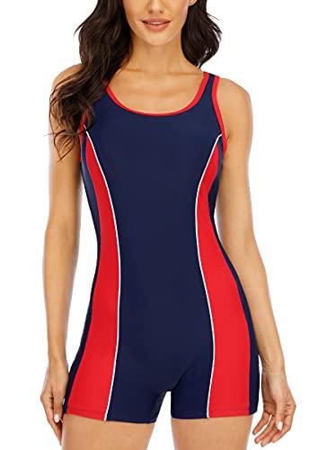 Halcurt Badeanzug Damen Sport Bademode Schwimmanzug Badeanzug mit Bein Badebekleidung Frauen XL