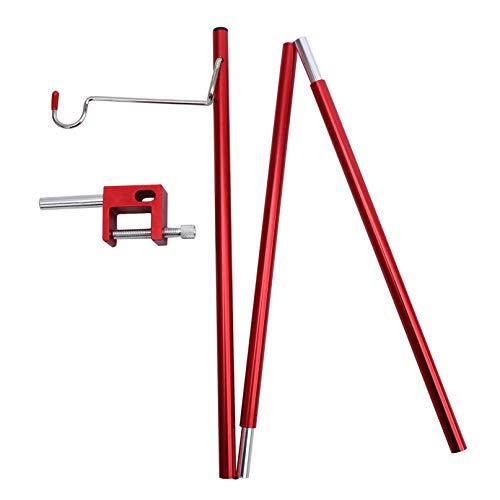 Garispace Lámpara de aleación de aluminio portátil poste plegable al aire libre lámpara poste con estaca ultraligero senderismo colgante poste luz rojo camping mesa luz soporte