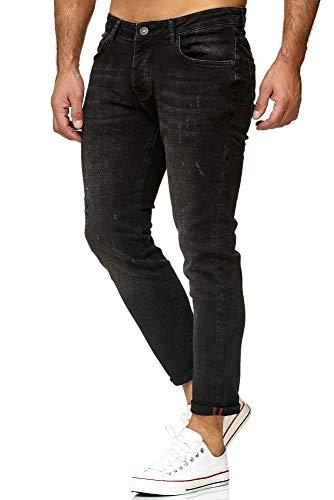 Red Bridge Denim Jeans Regular-Fit Vaqueros de Hombres Pantalón con Agujeros Vintage Negro
