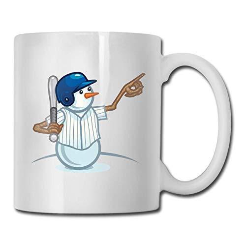 Taza de béisbol con muñeco de nieve, taza de café para bebidas calientes, taza de gres, taza de café de cerámica, taza de té de 11 onzas, divertida taza de regalo para té y café