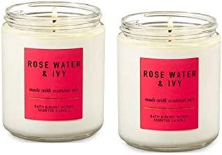 Bath and Body Works Rose Water and Ivy Single Wick Candle 7 Oz. 2 Set