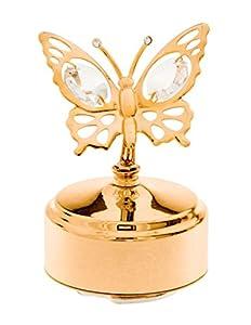 24k Gold Plated Swarovski Crystal Rotating Music Box Figurines - Nature