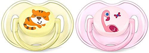 Philips Avent SCF169/26 - Set de 2 chupetes Gama Safari, de 0 a 6 meses, diseño tigre o flamenco, para niña