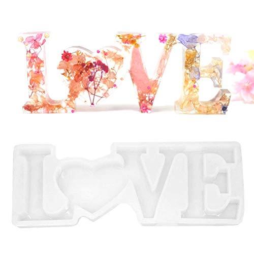 ADIUMA Molde de Resina de Letra de Amor 3D Molde de Silicona para Manualidades decoración de Mesa casera de Bricolaje