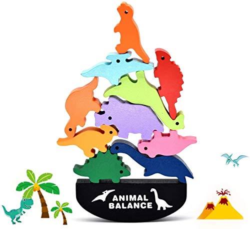 Stapelspiele Spielzeug Holz Tierförmige Animal Balance Toys Kinder Dinosaurier Bausteine Früherziehung Puzzle Eltern Kind Interaktion, Pädagogisches Stapeln High Building Block Spielzeug (Dinosaurier)