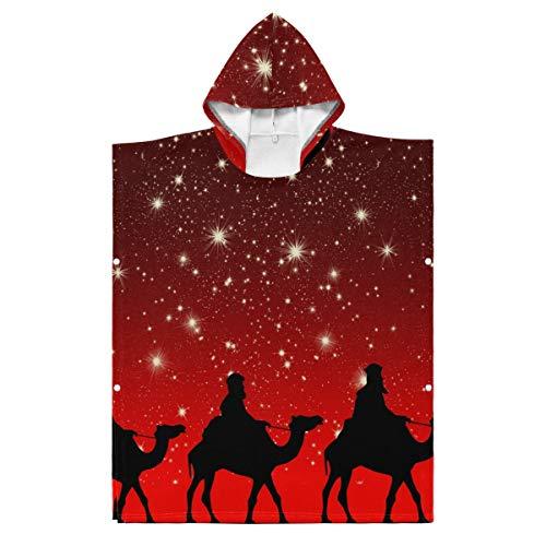 LORONA Kids Teens Polyester-Katoen Blend Heilige Drie Koningen Camels Ride Strand Handdoek Mantel Draagbare Hooded Deken Hoodie Mantel 35.43x27.55in/90x70cm Meerkleurig