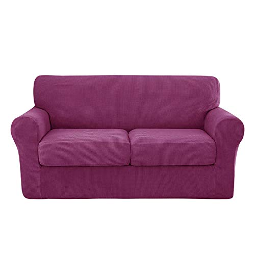 NUELLO Fundas de sofá elásticas de 3 Piezas, Fundas de sofá Fundas para Muebles (Funda de Base más 2 Fundas de cojín Individuales) Tela Jacquard más Gruesa Lavable-N-Medium
