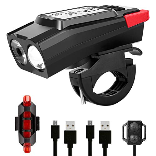 AIJIANG 3 in 1 Fahrradlicht Set,USB Wiederaufladbare 6 Lichtmodi LED Fahrradcomputer Fahrradbeleuchtung Set mit Front- und Rücklicht,Regen und stoßfest
