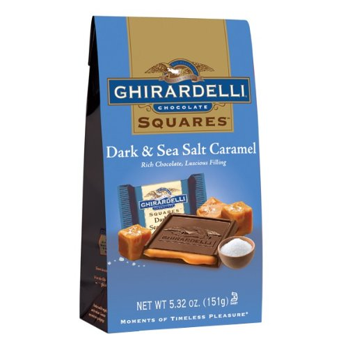 GHIRARDELLI Dark Chocolate Sea Salt Caramel Squares, 5.32 Oz Bag