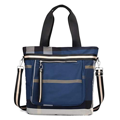 Handbag all-match outdoor travel backpack large capacity crossbody striped shoulder bag Stylish Handbags (Color : Dark Blue)