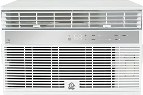 GE AHY08LZ Smart Window Air Conditioner with 8000 BTU Cooling Capacity, Wifi Connect, 3 Fan Speeds, 115 Volts, White