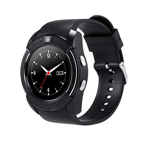 Hemobllo Smartwatch,V8 Runder Bildschirm Erwachsene Karte Bluetooth Smart Watch SIM Telefon Bluetooth Kamera GPS für Samsung iPhone iOS Android (Schwarz)