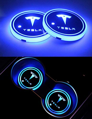 topfit Tesla Modelo 3 Modelo S Modelo X LED Portavasos para coche Luz USB recargable Cojín de copa luminiscente 7 colores Lámpara de ambiente Luz de decoración interior, 2 piezas por juego