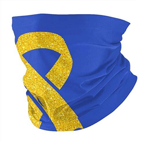 N/W Bufanda de cabeza de color amarillo con cinta para el cáncer infantil