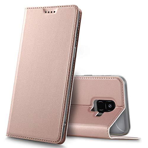 Verco Handyhülle für Galaxy A6, Premium Handy Flip Cover für Samsung Galaxy A6 (2018) Hülle [integr. Magnet] Book Case PU Leder Tasche, Rosegold