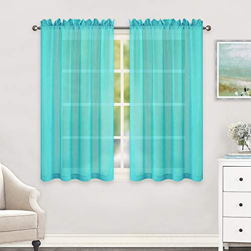 HUTO Short Sheer Curtains for Small Windows Rod Pocket Turquoise Window Sheer Drapes for Kitchen Bathroom 2 Panels 52 Inches Wide by 45 Inches Long