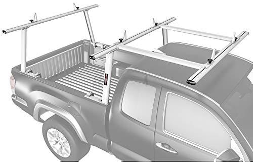 AA-Racks Model APX25-E Aluminum Pickup Truck Ladder Rack w/Cantilever Extension - Sandy White