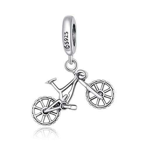 DFHTR Charm 925 Plata Esterlina Cristal Bicicleta Forma Colgante Encantos Se Ajustan A Pulseras Y Collares Originales Regalo De Joyería DIY