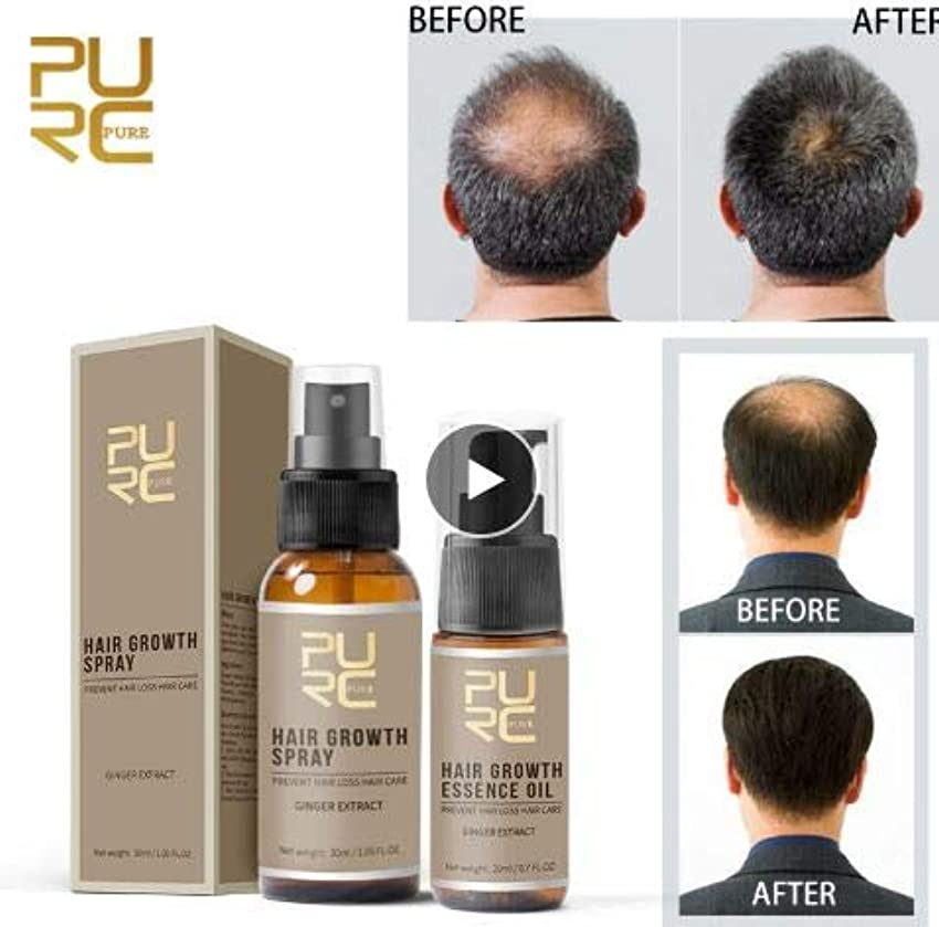 防腐剤うなる成長SET OF 2 - PURC Fast Growth and Care Hair Essence OIL + Hair Growth SPRAY - perfect hair care for Preventing Hair Loss