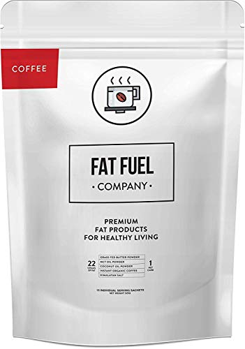 Fat Fuel Company Organic Instant Keto Coffee | with MCT Oil, Coconut Oil, Grass-Fed Butter Powder, & Redmond Real Salt | Brain & Energy Booster | Ready-Mix Powder for Ketosis | 15 Individual Packets