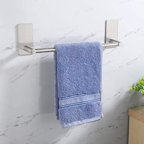 Amazon Brand - Umi Toallero Adhesivo Toallero Baño Acero Inoxidable SUS304 Toalleros de Baño Sin Taladro Soporte Barra Toalleros para Baño Pared 30cm Cepillado, A7000S30-2